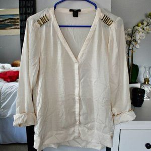 H&M off-white blouse with metal detailing